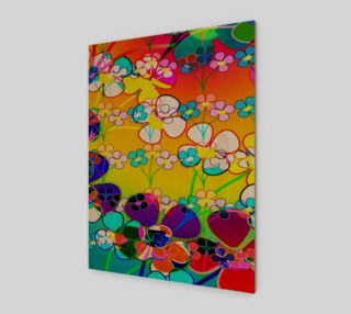 Abstract Colorful Flower Art Yellow Background Poster preview