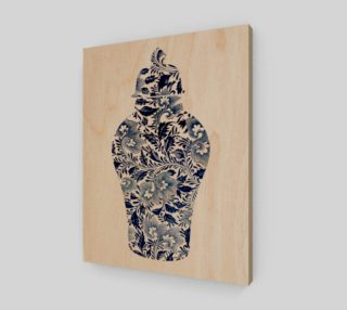 Aperçu de Chinoiserie Ginger Jar - Blue and White Floral - 11 x 14 - Wood Print