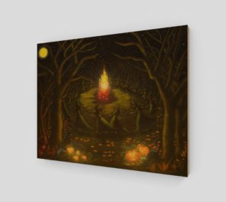 Halloween witches coven around a bonfire art print preview