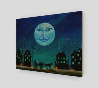 Halloween moon face art print preview