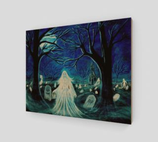 Halloween ghosts in graveyard art print preview
