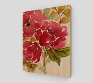 Crimson peonies on wood preview