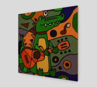 Aperçu de Funny Alligator Playing Guitar Abstract Art