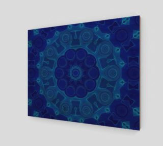 Aperçu de Blue Mandala Flower Art Wood Print