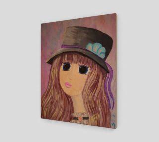 Aperçu de Girl with Hat Original Goth Big Eye Art