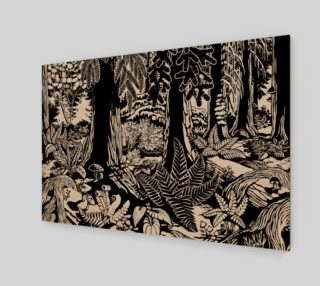 Landscape Art Print Black & White Forest Print on Wood preview