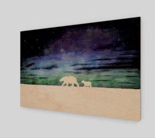 Aurora borealis and polar bears (white version) preview