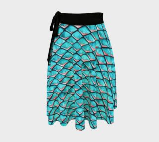 Teal blue and coral pink arapaima mermaid scales pattern Wrap Skirt preview