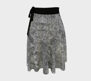 Grey and black swirls doodles Wrap Skirt preview