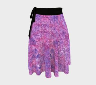 Neon purple and pink swirls doodles Wrap Skirt preview