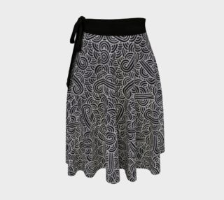 Faux silver and black swirls doodles Wrap Skirt preview