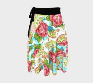 Aperçu de Rose Gingham Swirl Circle Skirt