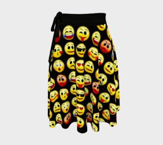 Emoji Faces Black Background Wrap Skirt, AOWSGD preview