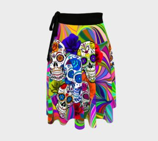 Sugar Skulls Circular Colorful Geometric Abstract Wrap Skirt, AOWSGD preview