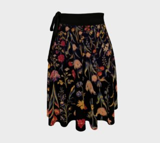 Medieval Flowers on Black Wrap Skirt preview