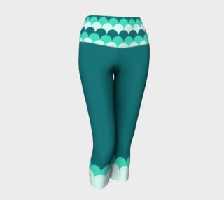 Teal Yoga Capris with Mermaid Scales Band preview