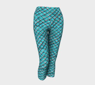 Teal blue and coral pink arapaima mermaid scales pattern Yoga Capris preview