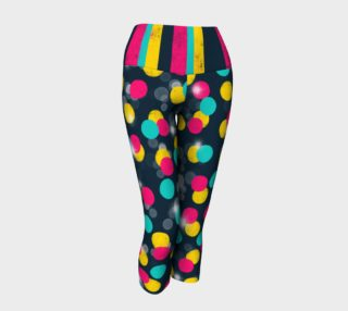 Celestial Candy Stripes on Dark Teal - Yoga Capris preview