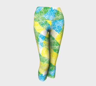 Yellow Blue Green White Paint Stripes Floral Capri Yoga Pants preview