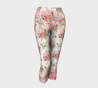 Aperçu de Bold Red Green Wild Rose Floral Yoga Capri Pants