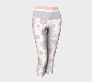 Pastel Pink Ivory Purple Abstract Flower Yoga Capri Pants preview