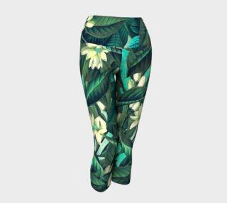 yoga capris green flowers preview