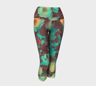 yoga capris green yellow flowers preview