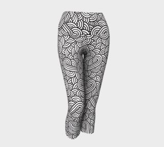 Black and white swirls doodles Yoga Capris preview