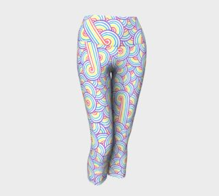 Rainbow and white swirls doodles Yoga Capris preview