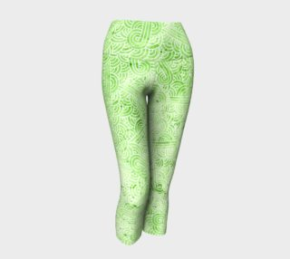 Greenery and white swirls doodles Yoga Capris preview