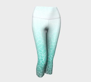 Ombre turquoise blue and white swirls doodles Yoga Capris aperçu