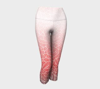 Ombre red and white swirls doodles Yoga Capris preview
