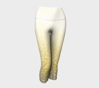 Ombre yellow and white swirls doodles Yoga Capris preview