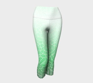 Ombre green and white swirls doodles Yoga Capris preview