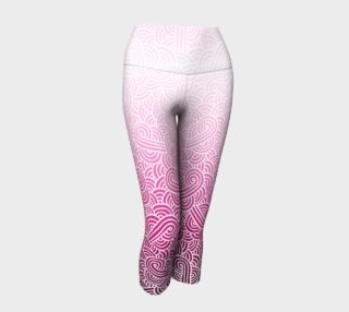Ombre pink and white swirls doodles Yoga Capris preview