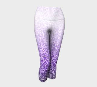 Ombre purple and white swirls doodles Yoga Capris preview