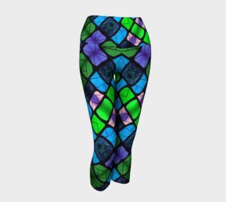 Waterlily Stained Glass - Green Yoga Capris II preview