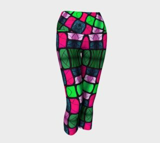 Waterlily Stained Glass - Pink Yoga Capris preview
