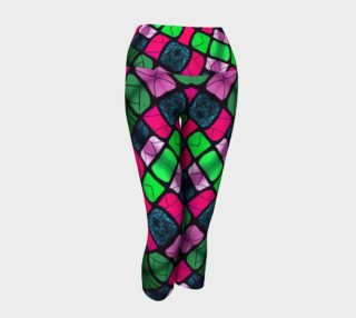 Waterlily Stained Glass - Pink Yoga Capris II preview