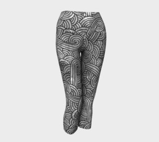 Grey and black swirls doodles Yoga Capris preview