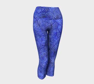 Royal blue swirls doodles Yoga Capris preview