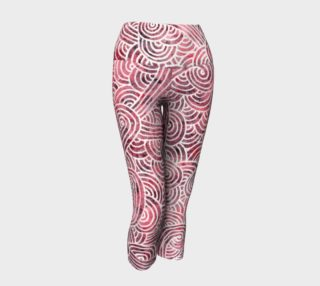 Red and white swirls doodles Yoga Capris preview