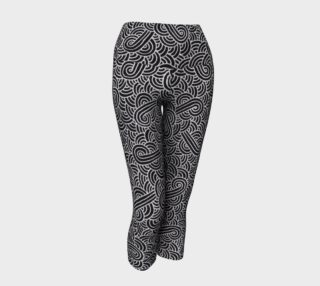 Faux silver and black swirls doodles Yoga Capris preview