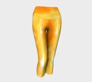 Golden Yellow Watercolor Capri Yoga Pants preview