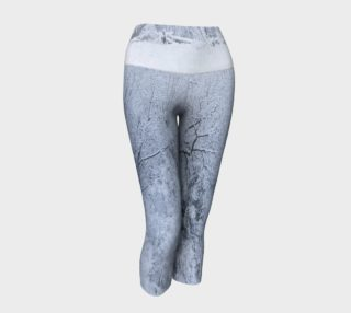 Snow Covered Trees Frosty Blue and White Yoga Capris preview