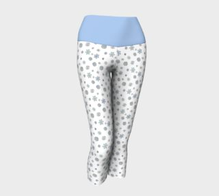Snowflakes Yoga Capris with a Blue Band preview