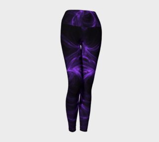 Purple Fractal on Black Yoga Leggings preview