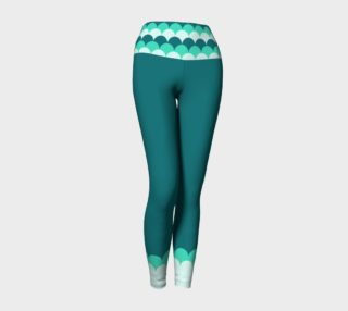 Teal Yoga Leggings with Mermaid Scales Band preview