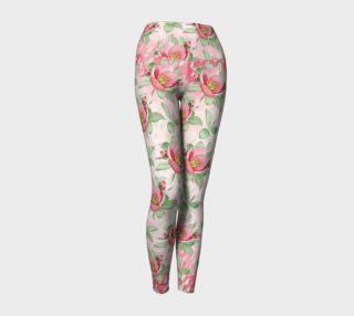 Aperçu de Bold Red Green Wild Rose Floral Yoga Leggings