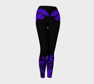 Aperçu de Dragon Lady, Purple Swirls on Black, Yoga Pants